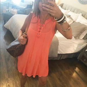 ***Sale***Lace Up Pocketed Swing Dress